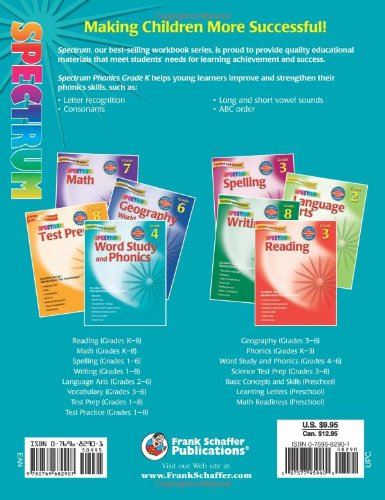 Amazon.com: Spectrum Phonics, Kindergarten (0087577959900): School ...