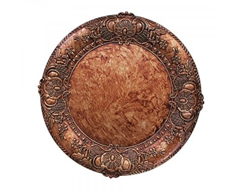 ChargeIt by Jay 1320428 Embossed Charger Plate, Copper