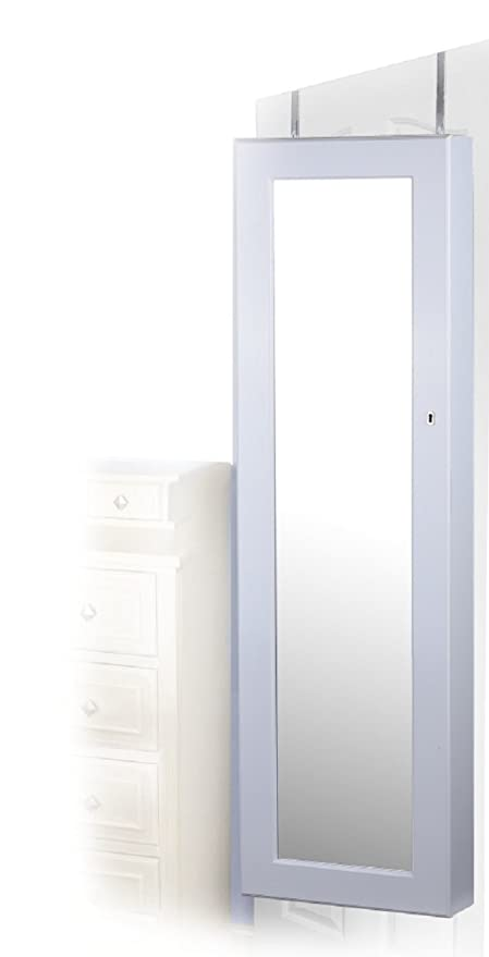 Amazoncom White Finish WallDoor Mount Jewelry Armoire Cabinet