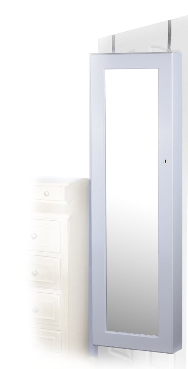 White Finish Wall/Door Mount Jewelry Armoire Cabinet - Rings, Necklaces, Bracelets