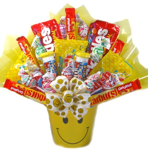 (Delight Expressions™ Sweets and Smiles Gift Basket - Candy Bouquet for Kids - A Halloween or Get Well Gift)