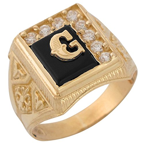 10k Yellow Gold Black Onyx White CZ Accented Mens Classic Letter G Initial Ring