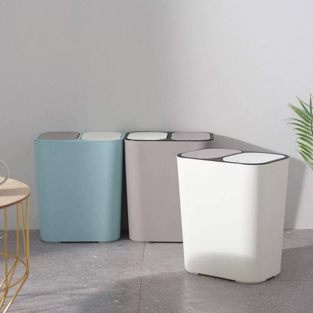 Il Soggiorno la Cucina e LUfficio Bianco Ideale per la casa D/&S Vertriebs GmbH Pattumiera a Doppio Coperchio con Due Scomparti