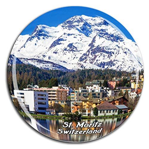 St. Moritz Switzerland Fridge Magnet 3D Crystal Glass Tourist City Travel Souvenir Collection Gift Strong Refrigerator ()