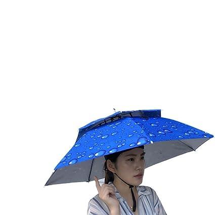 5d778d1a2cd Unpara Foldable Novelty Rain Cap Umbrella Sun Hat Golf Fishing Camping Fancy  Dress Multicolor (Blue