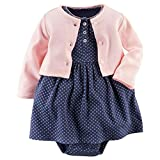 Toddler Baby Girls 2 Pcs Dress Set Long Sleeve Dress and Cardigan (Pink-Navy Blue, 24 Months)