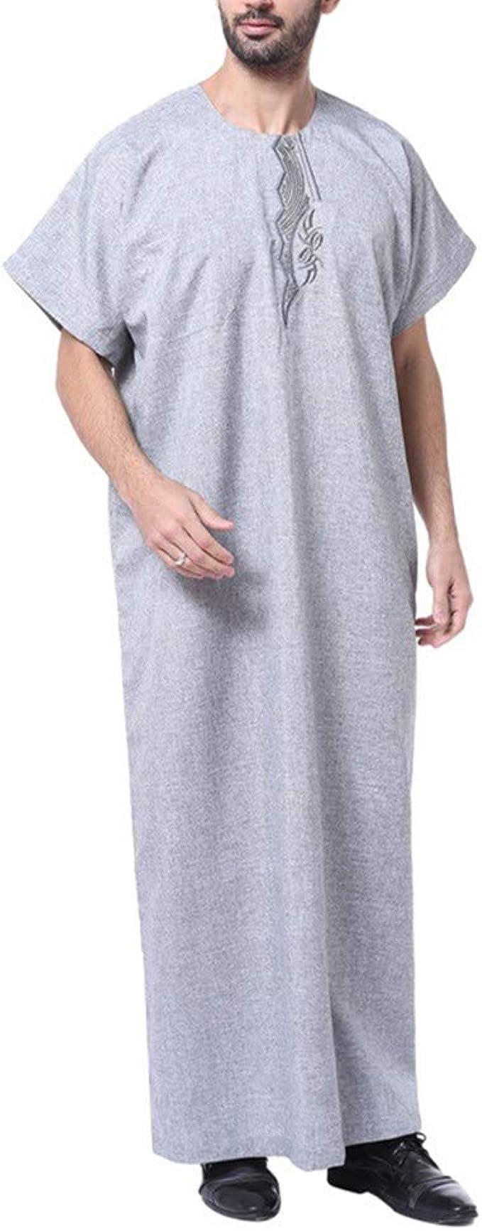 Ropa Musulmana Caftan Hombre Arabes - Abaya Musulman Camisa Vestido Dubai Manga Corta Maxi Largos (Gris, XXXL): Amazon.es: Ropa y accesorios