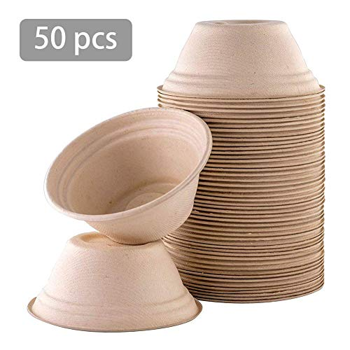 350ml Bowl - Disposable Bowls With Lip, 50PCS Biodegradable Bowl For Ice Cream Chili Soup, 350ML/14.7OZ, Biodegradable Dishware, Eco-Friendly Bagasse Material, Microwaveable, For Soup, Salad, Hot Food