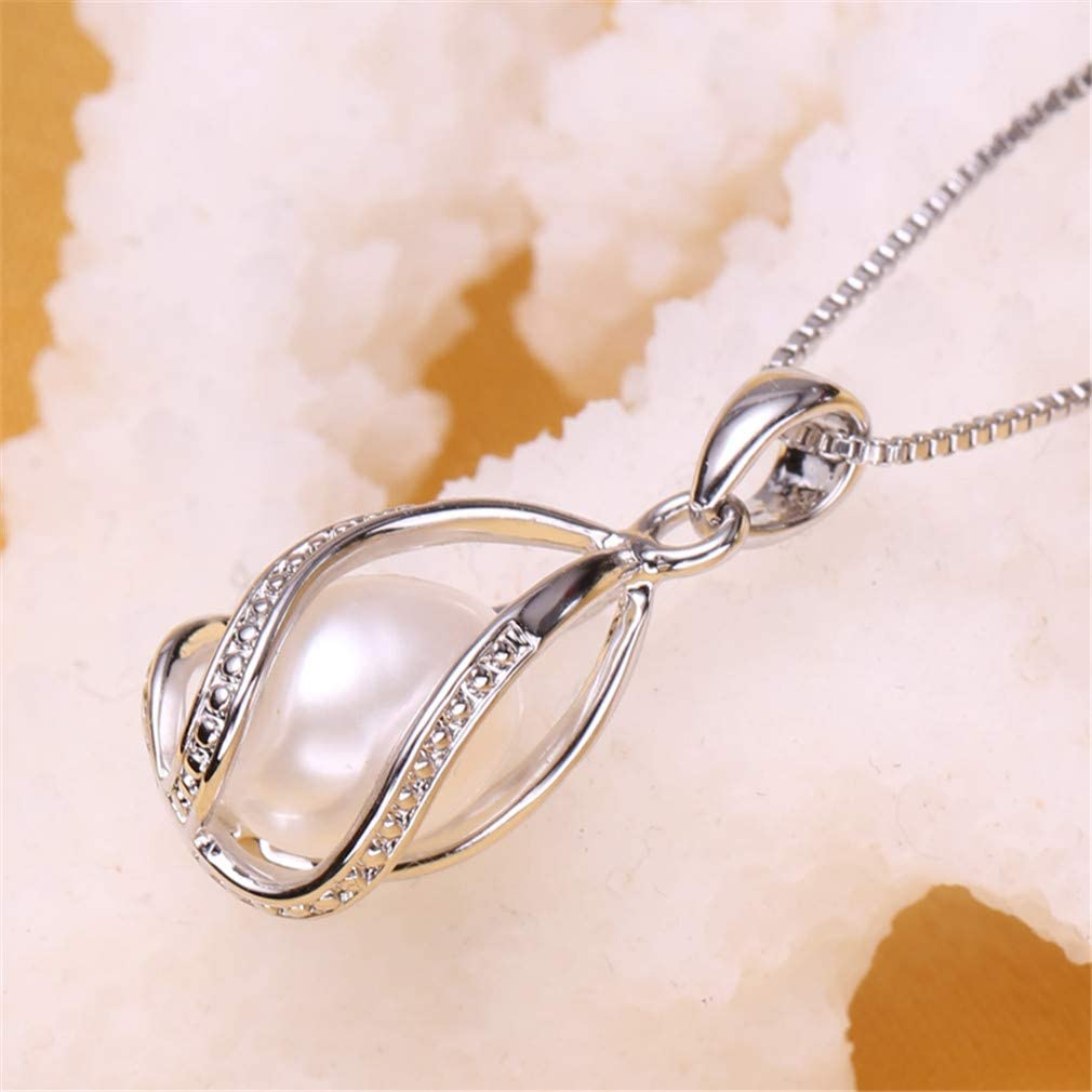 Bohemia Cage Pearl Pendant Natural Pearl Jewelry Hot Selling 925 Sterling Silver Pendant Necklace For Women Female Jewelry Pink