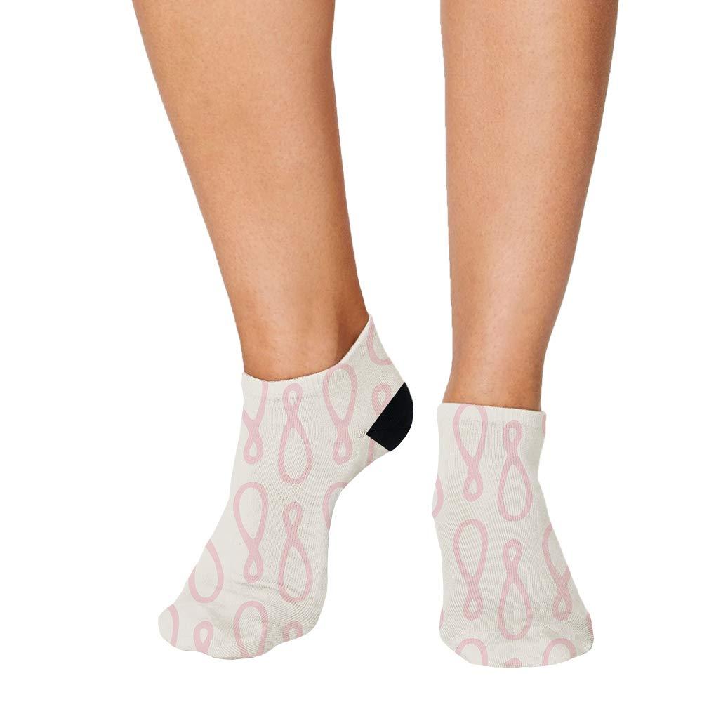 Pink And White Pitter Pattern #20 Men-Women Adult Ankle Socks Novelty Socks