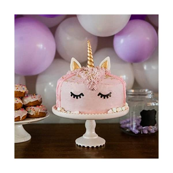 GmakCeder Unicorn Cake Topper,Reusable Unicorn Horn, Ears and Eyelashes Party Cake Decoration Value Set for Baby Shower, Birthday Party (6inch) (8 inch) 6