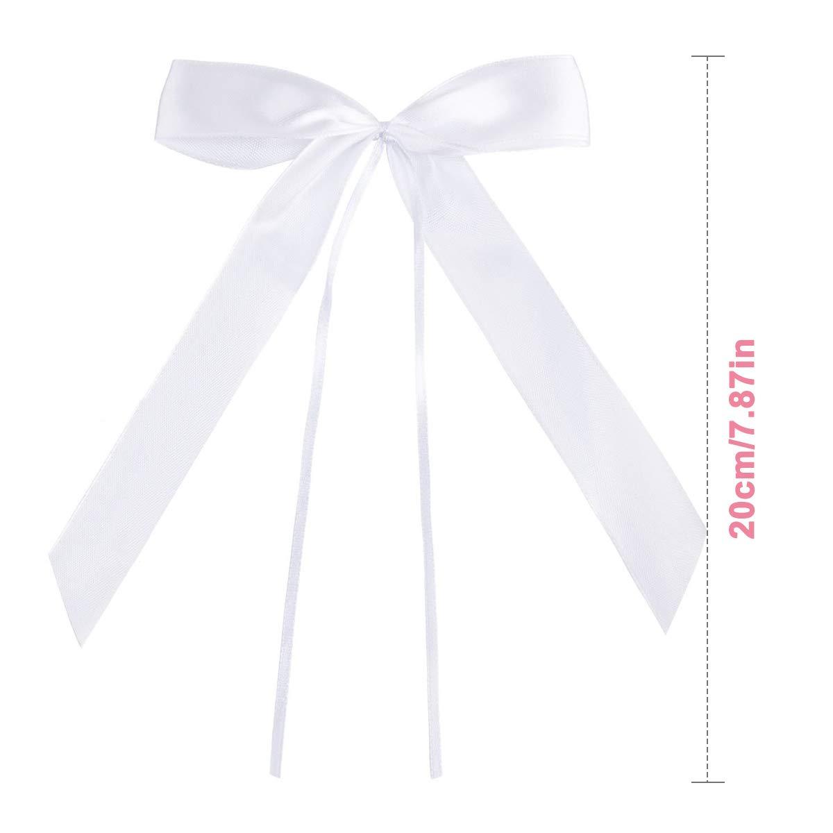 Noeud Papillon Satin Ruban Mariage pour Voiture Decoration Wedding Crmonie Cadeau Bouquet Noeud Ruban Mariage NATUCE 50PCS Blanc D/écoration De Mariage N/œuds Satin Beige Chaise