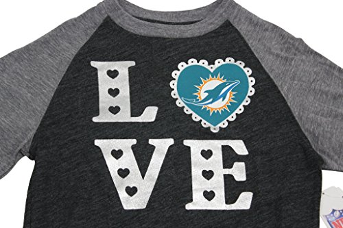Dolphin Long Sleeve Tee (Team Apparel Girls Miami Dolphins Love Football Long Sleeve T Shirt,Miami,X-Large)