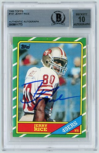 Topps Autograph Auto - Jerry Rice 1986 Topps Football Autograph Auto Rookie Card #161 - BAS 10