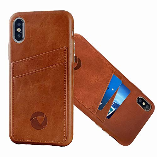 Luckycoin iPhone Xs Max Leather Case with Card Slots Full Grain Cowhide Vintage Genuine Leather Slim Luxury Handcraft Case with Metal Button Card Slots Support Wireless Charging for iPhone Xs Max Tan