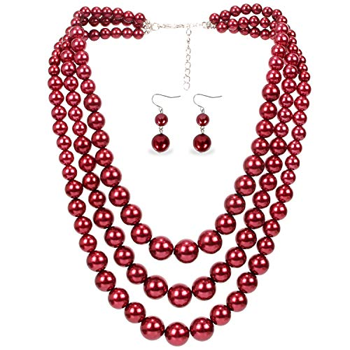 LuckyHouse Large 3 Layer Strand Bead Faux Pearl Necklace Jewelry for Women 19