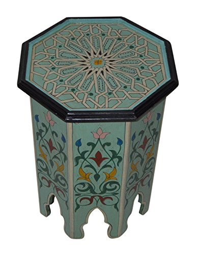 Hand Painted Wood Furniture - Moroccan Handmade Wood Table Side Delicate Hand Painted Aqua Exquisite