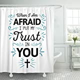 Breezat Shower Curtain When I'm Afraid I Put My Trust in You Calligraphy Bible Scripture Emblem with Blue Ornamental Accents Waterproof Polyester Fabric 72 x 72 Inches Set with Hooks