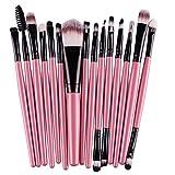 15 Brochas de Maquillaje Profesional color Rosa con Negro Chicaspekes