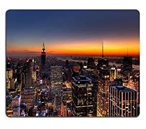New York Skyline United States City Mouse Pads Customized Made to Order Support Ready 9 7/8 Inch (250mm) X 7 7/8 Inch (200mm) X 1/16 Inch (2mm) High Quality Eco Friendly Cloth with Neoprene Rubber Liil Mouse Pad Desktop Mousepad Laptop Mousepads Comfortable Computer Mouse Mat Cute Gaming Mouse pad by runtopwell