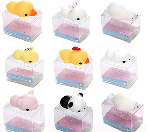 JBENG 9PCS Mini Squishy Squeeze Stretchy Animal Seals Healing Toys - Soft Kawaii Cute - for Kids Adults Reduce Stress Pressure - Ducks Sticky