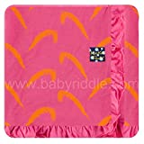 custom carnival - Kickee Pants Custom Print Ruffle Toddler Blanket - Carnival Feathers with Flamingo Trim & Backing, One Size