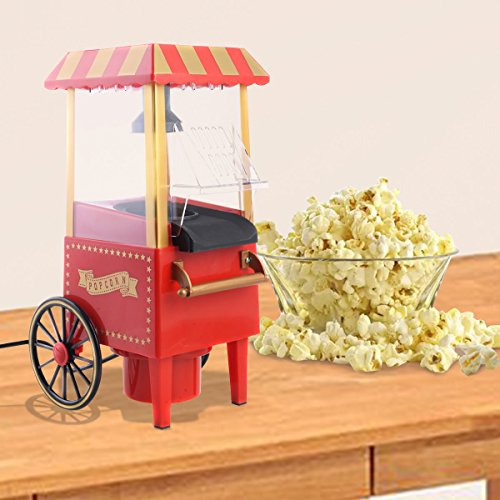 MasterPanel - Mini Hot Air Pop Corn Maker Cart Popper Machine Tabletop Vintage Home Movie Red - Canada To Shipping Estimate