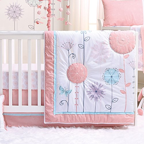 Wildflower 3 Piece Baby Crib Bedding Set - Coral, Purple - Floral, ()
