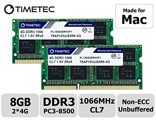 Timetec Hynix IC 8GB KIT(2x4GB) Compatible for Apple DDR3 1067MHz/1066MHz PC3-8500 SODIMM RAM Upgrade for Late 2008, Early/Mid/Late 2009, Mid 2010 MacBook, MacBook Pro, iMac, Mac Mini (8GB KIT(2x4GB))