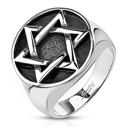 Blue Palm Jewelry - Rings Star of David Medallion Cast Wide Cast Ring Stainless Steel Band Ring R670 (13)