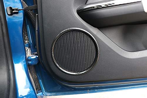 Carbon Fiber Style Door Speaker Frame Interior Decoration Cover Trim for Ford Mustang 2015 2016 2017 2018, 2 pcs/set -