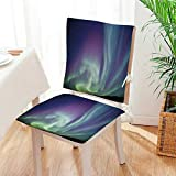 Mikihome Chair Pads 2 Piece Set Exquisite Atmosphere Solar Starry Skying Night Green Dark Blue Violet Garden Home Kitchen Mat:W17 x H17/Backrest:W17 x H36