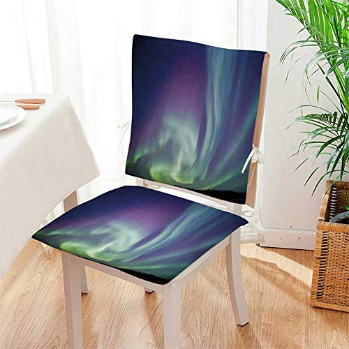 Mikihome Chair Pads 2 Piece Set Exquisite Atmosphere Solar Starry Skying Night Green Dark Blue Violet Garden Home Kitchen Mat:W17 x H17/Backrest:W17 x H36 by Mikihome