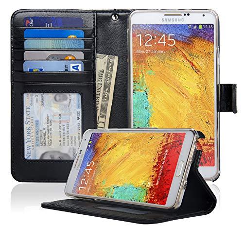 Navor Protective Flip Wallet Case Compatible for Samsung Galaxy Note 3 - Black (N3OBK)