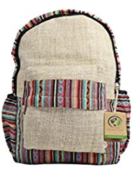 Mato Boho Hemp Backpack College School Bohemian Woven Aztec Baja Pattern Laptop Bag