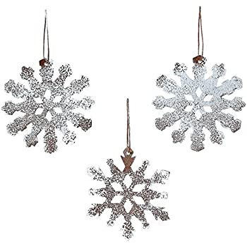 rustic tin white sparkle snowflake ornaments set of 12 christmas by oriental trading company
