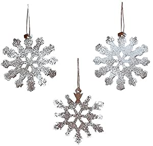 Amazoncom Rustic Tin White Sparkle Snowflake Ornaments Set of 12