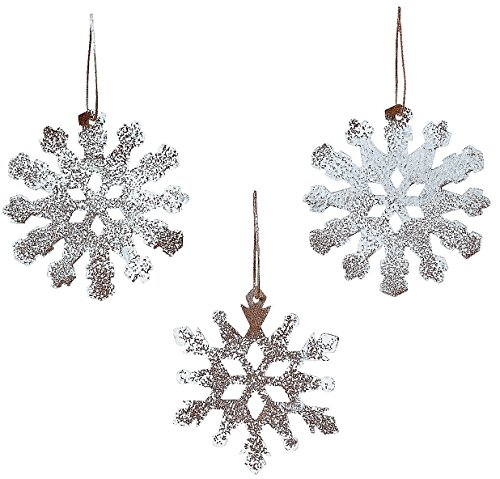 Rustic Tin White Sparkle Snowflake Ornaments Set of 12 Christmas