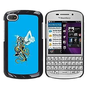 TopCaseStore / la caja del caucho duro de la cubierta de protección de la piel - Octopus Woman Sea Monster Goddess Ocean - BlackBerry Q10