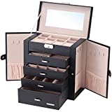 Homde Synthetic Leather Huge Jewelry Box Mirrored Watch Organizer Necklace Ring Earring Storage Lockable Gift Case(Black)