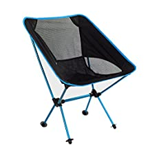 Portable Folding Camping Chair, High Quality Aluminum Alloy Seat, Lightweight Compact & Heavey Duty (up to 350 lbs), Comfortable for All Outdoor Events in Lawn Beach Fishing Hiking (Lake Blue)