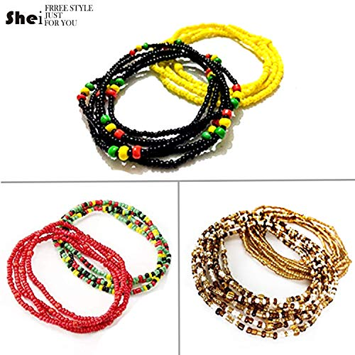 Tuoshei 6 Piece Summer Jewelry Waist Bead Set Colorful Waist Bead Belly Bead African Waist Bead Body Chain Beaded Belly Chain Bikini Jewelry for Woman Girl ()
