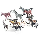 Fun Central AZ986, 12 Pcs, 4 Inches Assorted Plastic Horse Toys, Horseland Horse Figures for Kids, Western Cowboy Horse Toys