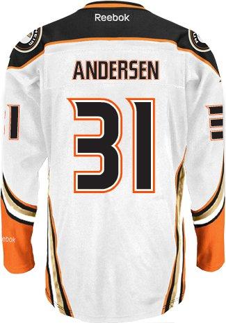 super popular da56c 48346 Frederick Andersen Anaheim Ducks NHL Away Reebok Premier ...