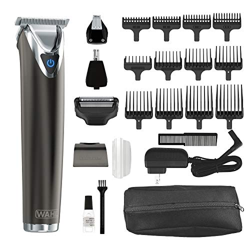 Wahl Clipper Slate Stainless Steel Lithium Ion Plus Beard Trimmers for Men, Electric Shavers, Nose Ear Trimmers, Rechargeable All in One Men's Grooming Kit, by the Brand used by Professionals, #9864 (Best Vacuum Beard Trimmer)