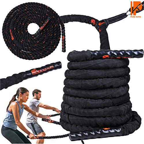 Battle Ropes with Anchor Strap Kit - 100% PolyDac Heavy Battle Rope with Protective Nylon Cover - Perfect Exercise Rope for Men and Women - 30ft Total Body Workout Rope