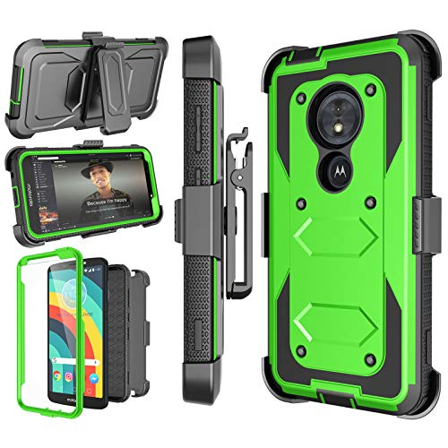 Moto G6 Play Case, Moto G6 Forge Holster, Moto E5 5.7 Case, Njjex [Nbeck] Heavy Duty Built-in Screen Protector Rugged Locking Swivel Belt Clip Kickstand Hard Shell Cover for Motorola G6 Play [Green]