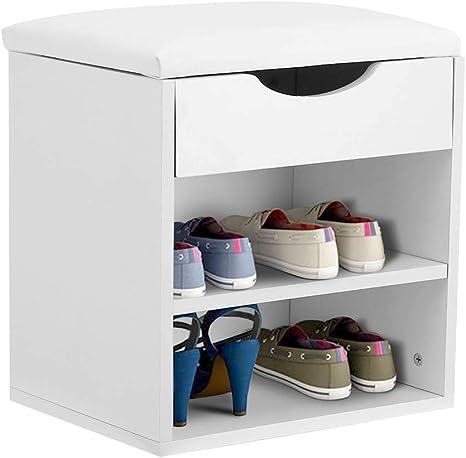 2 Tier Wood Shoe Bench Storage Rack Stool Organizer Cabinet Drawer Padded