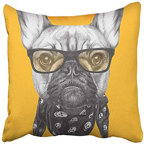 Throw Pillow Cover Polyester 18X18 Inch Blue Drawing Portrait Of French Bulldog With Glasses And Scarf Animal Beautiful Boy Breed Two Sides Decorative Square Print Pillowcase For Home (Breed Portrait Throw)