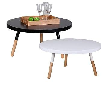 Design Couchtisch SKANDI 80 x 80 x 40 cm Form Rund Skandinavischer Retro  Look | Matt Lackierter Wohnzimmertisch mit Holz-Gestell | Wohnzimmer Möbel  ...